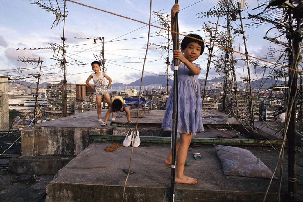 Children playing on Walled City rooftop, 1989