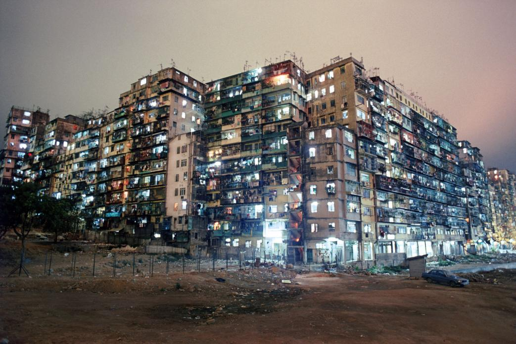 Kowloon Walled City Night View from SW Corner. 1987
