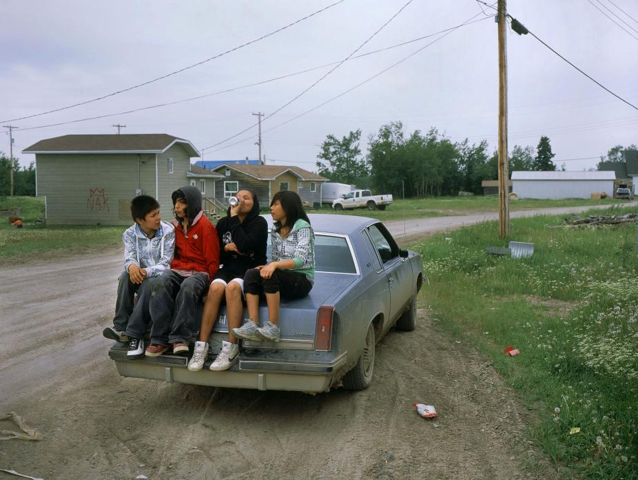 Kids after school, 'downtown' Poplar River